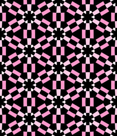 Geometric Asterisk and Hexagon Seamless Pattern - Shades of Pink with Black