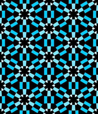 Geometric Asterisk and Hexagon Seamless Pattern - Shades of Blue with Black