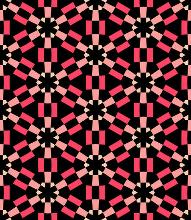 Geometric Asterisk and Hexagon Seamless Pattern - Shades of Red with Pale Orange and Black