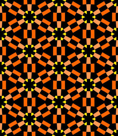 Geometric Asterisk and Hexagon Seamless Pattern - Shades of Orange with Yellow and Black Illusztráció
