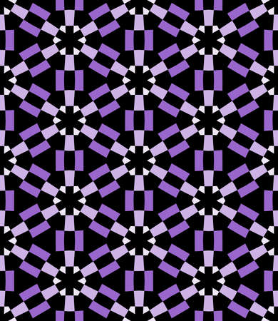 Geometric Asterisk and Hexagon Seamless Pattern - Shades of Purple with Black