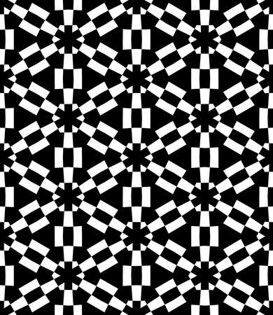 Geometric Asterisk and Hexagon Seamless Pattern - Black and White