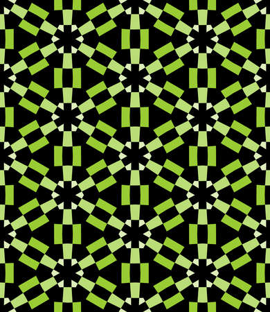Geometric Asterisk and Hexagon Seamless Pattern - Shades of Green with Black