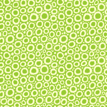 Shibori Inspired Abstract Seamless Pattern with Jagged Flower-like Circles and Spots - Pale Yellow on Martian Green