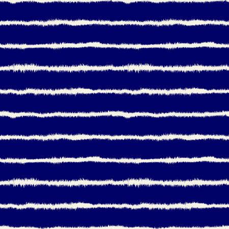 Abstract Shibori Style Horizontal Stripe Seamless Pattern (4 Tiles) - Off White on Deep Navy Blue (indigo dye Style) 向量圖像