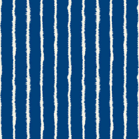 Abstract Shibori Style Horizontal Stripe Seamless Pattern (4 Tiles) - Off White on Blue (indigo dye Style) 向量圖像