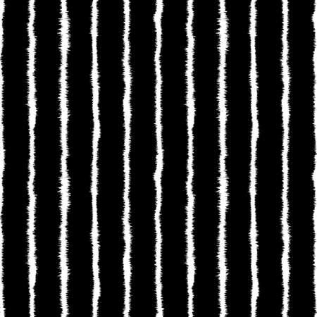 Abstract Shibori Style Horizontal Stripe Seamless Pattern (4 Tiles) - White on Black 向量圖像