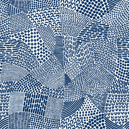 Abstract Patchwork Map Seamless Pattern Tile - Indigo Dye Blue on White