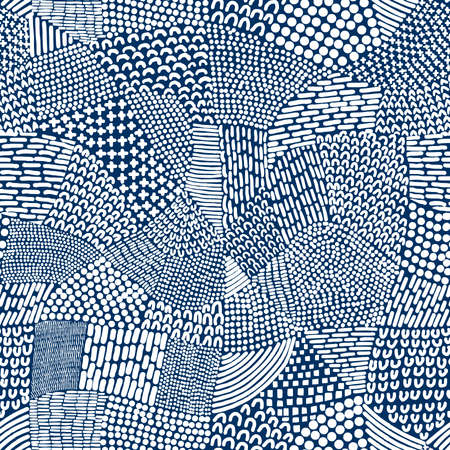 Abstract Patchwork Map Seamless Pattern Tile - White on Indigo Dye Blue