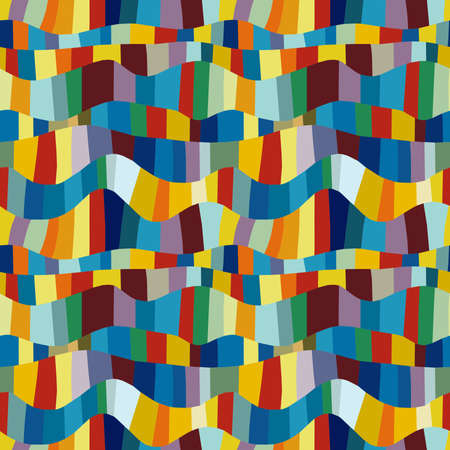 Abstract Wavy Colour Patchwork - Seamless Vector Pattern (4 Tiles)