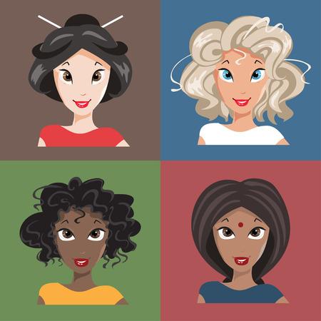 Women in different nationalities Stock Vector - 30652772