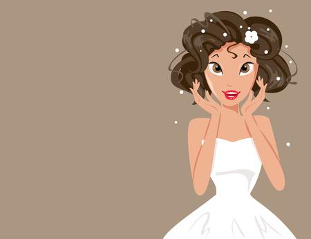 illustratie van de gelukkige bruid in witte jurk