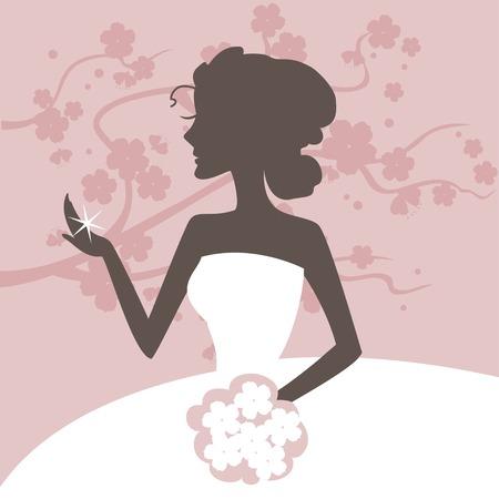 bague de fiancaille: belle mari�e admire pour une bague de fian�ailles