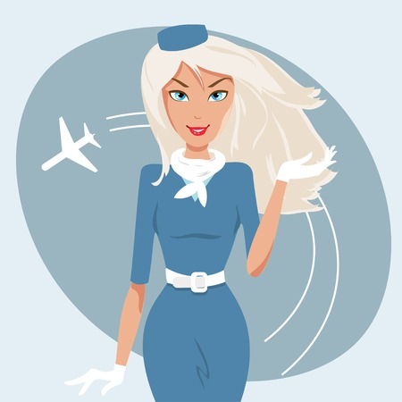 stewardess: beautiful stewardess with an airplane in the background Illustration