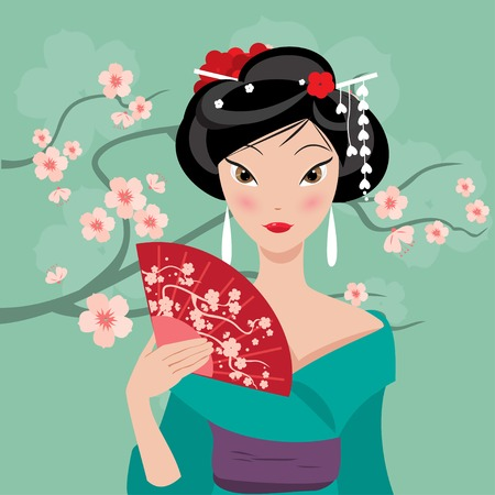geisha kimono: Geisha with a fan on the background of cherry blossoms