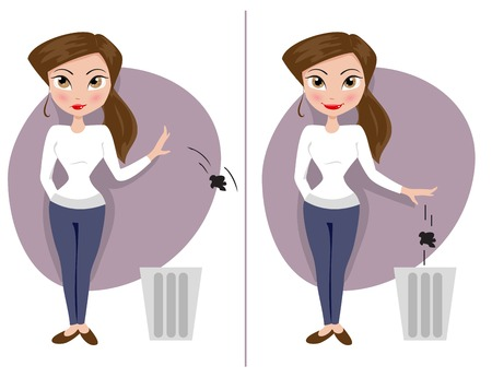 girls throw garbage in the trash