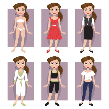 cartoon body: set of girls in different styles of clothing