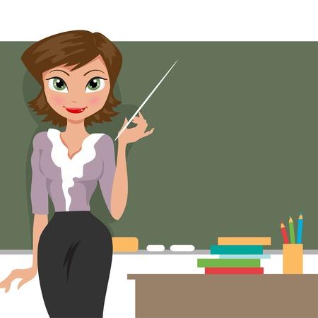 teacher at the blackboard in the classroom 일러스트