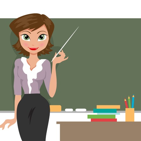 teacher at the blackboard in the classroom Vector