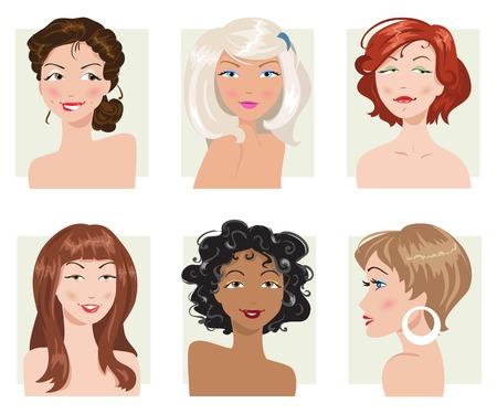 conjunto de peinados y tipos de apariencia de las mujeres Ilustración de vector