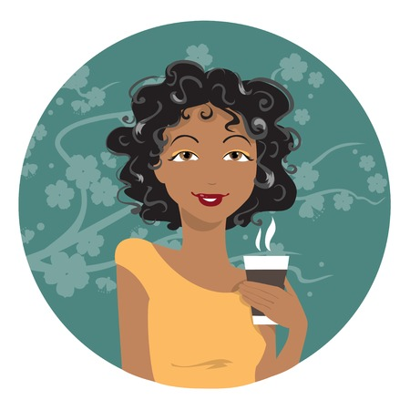 African American woman drinking coffee. Vector illustration. Vector