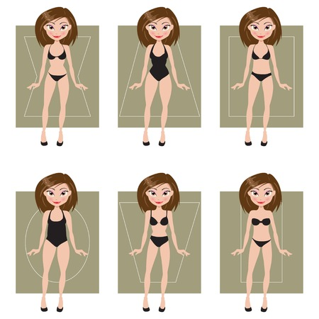 set of types of female figures