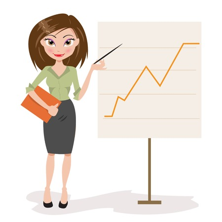 tells: beautiful business woman standing beside a graphic of the Illustration