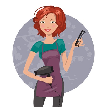 Beautiful hairdresser with a hair dryer and a comb. Vector illustration Illustration