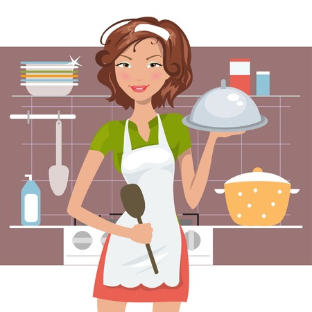 Beautiful woman chef in the kitchen. Vector illustration Vettoriali