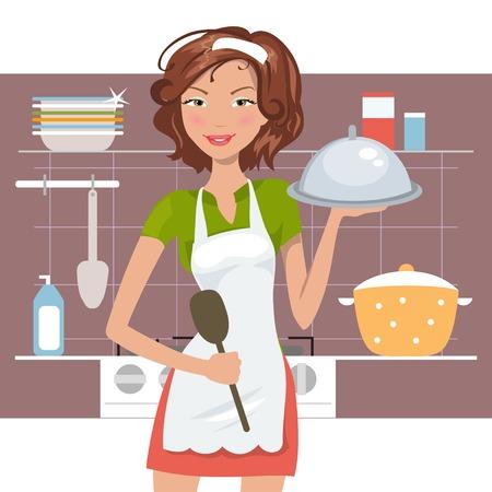 chef caricatura: Cocinero de la mujer hermosa en la cocina. Ilustraci�n vectorial