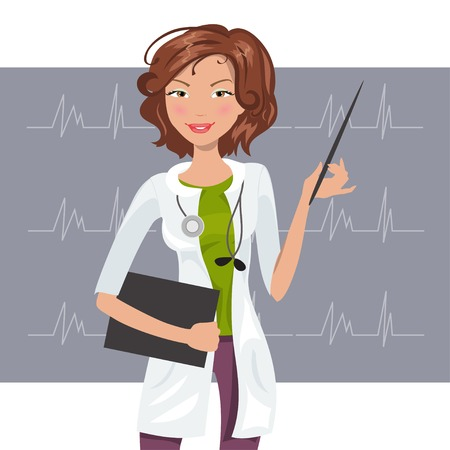 white coat: Beautiful female cardiologist in the white coat shows a cardiogram Illustration