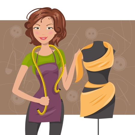 dressmaker: Woman seamstress work with fabric and dummy