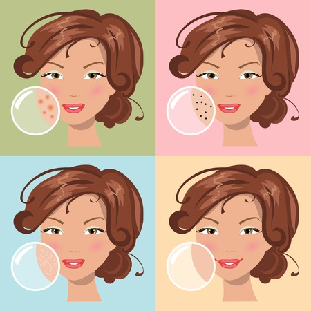 skin problem: Girls with a problem and clean skin of the face