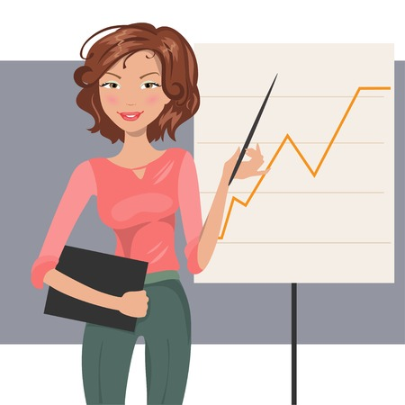 financier: Illustration of beautiful fashion business woman conducting a presentation