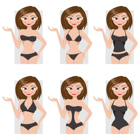 beachwear: Cartoon illustration of beautiful girl and options beachwear Illustration