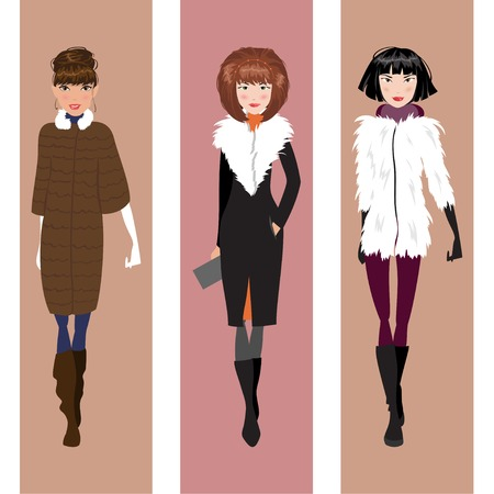 woman fur: Three beautiful fashionable woman in winter clothes