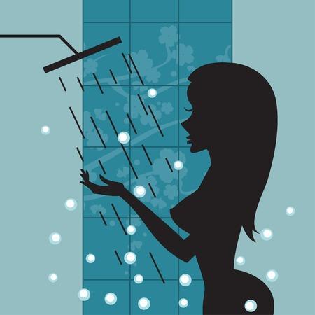 ni�a desnuda: Vector de la imagen de la hermosa chica desnuda atractiva tomar una ducha