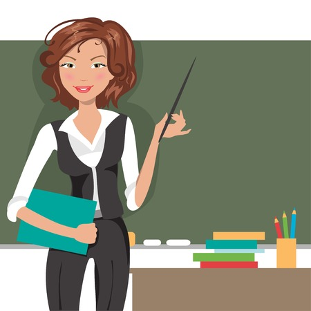 Illustration of a young female teacher about the board