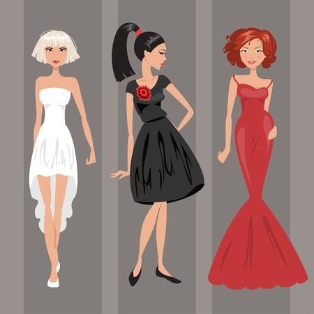evening dresses: Three women in a red, white and black evening dresses