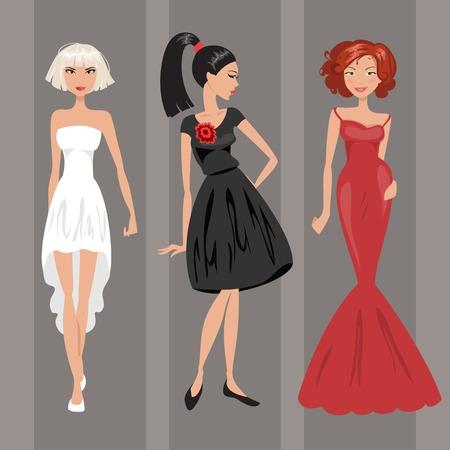 robes de soir�e: Trois femmes dans un robes de soir�e rouges, blanches et noires