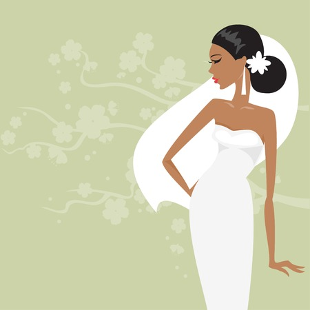 Bride in wedding dress on a floral background