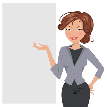 conducting: illustration business woman conducting a presentation