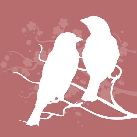 birds silhouette: Silhouettes of birds sitting together and symbolizes love