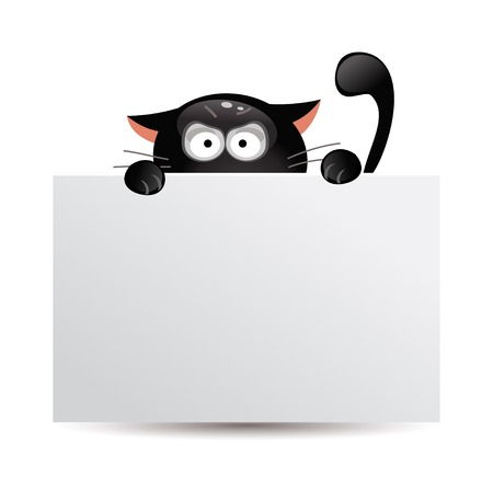 Funny cartoon black cat looks out from behind a banner