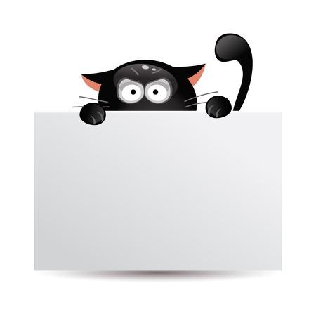 Grappige cartoon zwarte kat kijkt uit van achter een banner Stock Illustratie