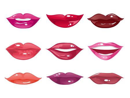 口紅の色合いとさまざまな形の女性の唇のコレクション