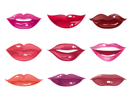 Collection of female lips of different shapes with different shades of lipstick