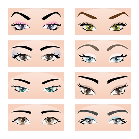 Collection of female eyes and eyebrows of different shapes, different colors, with and without makeup