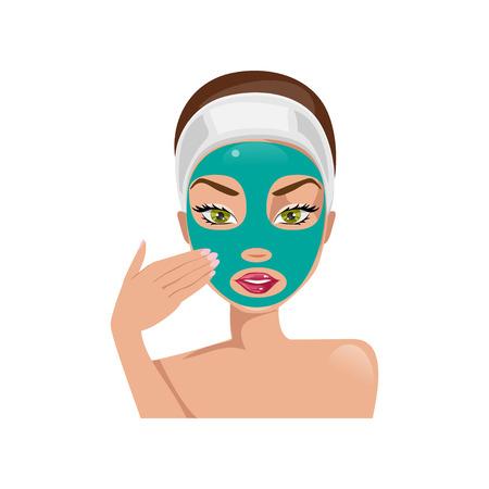 facial mask: Young beautiful woman puts a face mask