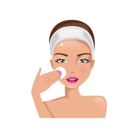 Illustration of a beautiful woman cleaning face with cotton pad Stock Illustratie